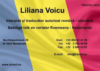 Liliana Voicu beëdigd tolk en vertaler Roemeens Nederlands business card